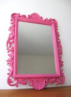 """Just a """"POP"""" I'd use the Pink of the Mirror through out the room. Blk & Wht w Pink does not Have to include Animal prints, or Hot Pink walls. Think """"small"""". Pillows, a throw over a Couch or Chair. Hot Pink Bedrooms, Pink Mirror, I Believe In Pink, Mirror Painting, Big Girl Rooms, Everything Pink, Fuchsia, Bedroom Colors, Bedroom Ideas"""