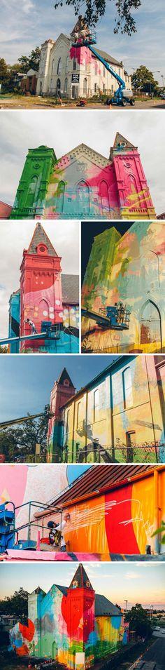 Hense, Graffiti, Street Art, Washington DC Church, Murals, WCAC, Washington DC- Cultural Arts Center  ワシントン市で使われなくなった教会の外壁にカラフルな絵が描かれた。近くに新設される博物館とセットの作品とのことだが、建物の形と色のアンバランスさが衝撃的。作者は芸術家の HENSE 氏。  https://twitter.com/ogugeo/status/316901236018405376