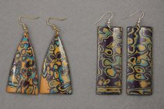 Mokume Gane earrings in polymer clay by Magic Toscana.
