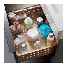 Storage compartments for bathroom drawers - IKEA Makeup Organization Ikea, Bathroom Drawer Organization, Bathroom Drawers, Ikea Bathroom, Bathroom Furniture, Small Bathroom, Organizing, Makeup Storage, Ikea Drawer Dividers