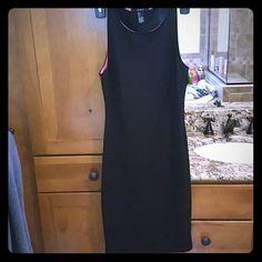 Knee high black dress with hot pink trim ripped black dress lined with hot pink forever 21 Dresses Midi