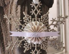 Vintage Christmas Snowflake Ornament Glitter Believe Gift Tag Banner Silver French Shabby Chic Decor Paper Rosette Tag