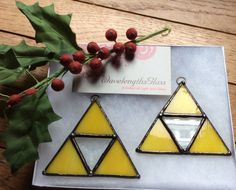 Stained Glass Legend of Zelda Triforce by WavelengthsGlass on Etsy