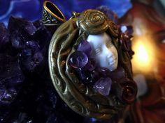 Goddess soul pendant with amethyst  gems by BOHORAINBO on Etsy, $40.00