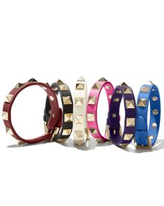 Valentino Small Rockstud Leather Bracelets - Collect them all and stack them high from some added edge to any ensemble!