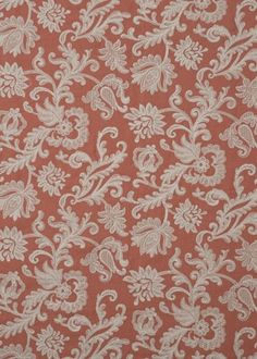 Derwent Fabric from the Langdale Collection by G P & J Baker. A delicate leaf and floral design, embroidered in pale gold thread on a coral ground. Fabric Design, Pattern Design, Gp&j Baker, Mulberry Home, Coral Design, Lee Jofa, Curtain Fabric, Designer Collection, Terracotta
