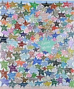 lots of coloured stars on a white background with words in the centre of each. John Moores First Prize Winner 2002 (liverpoolmuseums.org, 2013)