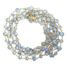 """Pre-Owned Chanel Vintage Blue Crystal and Gold Plate 77""""""""Necklace (14,955 EGP) ❤ liked on Polyvore featuring jewelry, necklaces, blue, vintage necklaces, blue necklace, vintage blue necklace, vintage long necklace and crystal jewelry"""