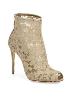 08d191cdca23 DOLCE  amp  GABBANA Lace Peep-Toe Bootie.  dolcegabbana  shoes  boots