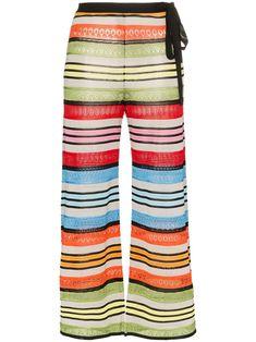 Mary Katrantzou Rego Stripe Wide Leg Trousers In Green Mary Katrantzou, Stockholm Street Style, Paris Street, Striped Wide Leg Trousers, Milan Fashion Weeks, London Fashion, Blouse Outfit, Pull On Pants, Flare Pants