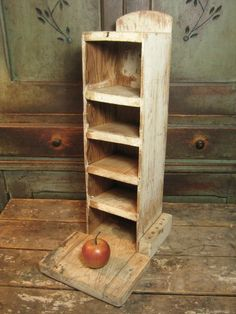Unique Old Primitive Tall Wooden Hand Made Sorting Shelf Unit w. Base – Old Paint  $95