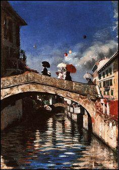 Il Naviglio a Ponte San Marco - Pintura de Giovanni Segantini - 1880