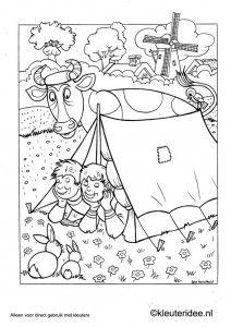 Kleurplaat thema camping 2, kleuteridee.nl ,  preschool camping coloring.
