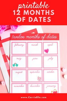 12 months of dates printable & a list of fun date ideas! Meal Planning Printable, Valentine's Day Printables, Printable Planner, Valentines Day Treats, Valentines For Kids, Valentine Day Crafts, Recipe Girl, Food Stamps, Good Dates
