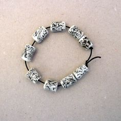Porcelain Bead Set Black And White  Beads   by BlueMagpieDesign