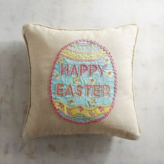 Covered in embroidery and embellished with appliques and rickrack, our pillow is proof that some Easter eggs are too pretty to hide. In fact, it's so unique and cheery, you may want to fill your basket with several.