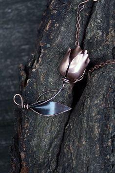 Copper tulip Handmade pendant necklace by AnnTitovaDesign