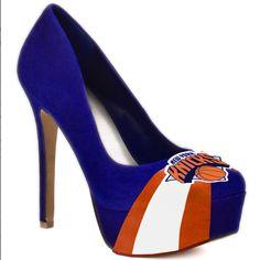 HERSTAR NBA New York Knicks High Heel Pumps. Promo Code KKM$10 saves you $10 off $99.99 at checkout!