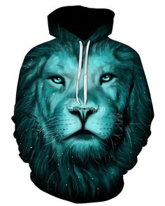Blue Cool Lion Long Sleeve 3D Pattern Hoodie Impression Paisley, Hoodie  Outfit, Lion Print cb139ffc0ee