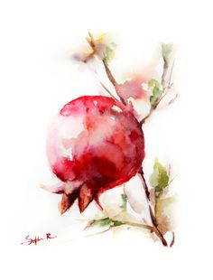 Red Pomegranate Watercolor Painting Art Print 9x12, Tree, Autumn, Red, Branch #wallart #watercolor