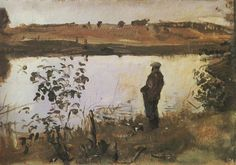 geritsel:  Valentin Serov - Oil sketch of Konstantin Korovin on the riverbank