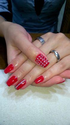 red gel and silver rhinestones