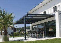 terraza aluminio cobertura vidrio pergola negra ideas