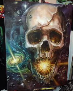 Finished up this cosmic skull painting, ,,,,last one for the 2015 I.also for sale,,thanks for the support over the year , cheerz @electricgrizzlytattoo @frostbackcollective @trinitysupplies