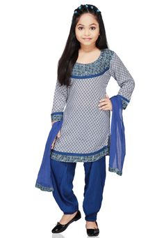WHITE AND BLUE COTTON READYMADE SALWAR KAMEEZ