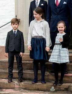 (C) Princess Isabella, wore a navy skirt with a silver blouse and cardigan. Princess Josephine dressed in black and white dress and black tights, the young royal ensured all eyes were on her as she laughed and waved to photographers while holding her older sister's hand. Little Prince Vincent, donned a black suit for the occasion - though didn't seem to be as excited about the official family occasion as his siblings.