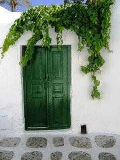 """santoriniblog: """" Green door, Mykonos island """""""