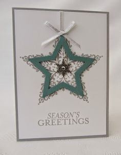 Stampin' Up! ... handmade Christmas card ...  Stamping Moments: Inspirations for Star Framelits ... fun look with filigree stamped star shape on panel and a wide star shaped frame on top ... clean and simple look ... not too fussy or shiny ... like it!
