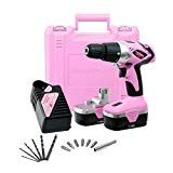 Pink Power Drill Cordless Electric Drill Driver Set for Women - Tool Case, 18 Volt Drill, Charger and 2 Batteries (Certified Refurbished) Cordless Drill Reviews, Power Tool Kits, Power Tools, Tools For Women, Drill Set, Pink Power, Hammer Drill, Drill Driver, Drill