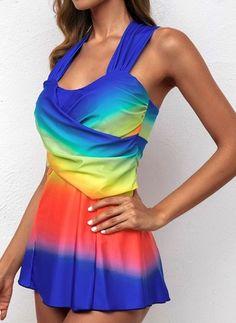 Stroje kąpielowe Tankini Ogłowie Blok Kolorów Kryzy Tankini, Dresses, Fashion, Moda, Vestidos, Fashion Styles, Dress, Dressers, Fashion Illustrations