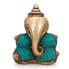 f522fc5ff3 Collectible India Conch Ganesha Idol Conch shell Ganesh Brass Sculpture  Hindu success God Ganpati conch shell Handmade Figurine Art