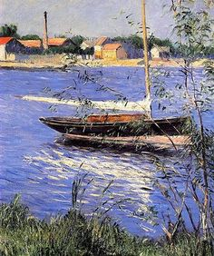 Anchored Boat on the Seine at Argenteuil Artist: Gustave Caillebotte Year: 1888 Type: Oil on canvas Impressionist Landscape, Impressionist Paintings, Pierre Auguste Renoir, Edgar Degas, Beaux Arts Paris, Gustave Courbet, Art Graphique, Claude Monet, Art Forms