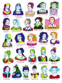 "Katja Spitzer, ""26 Queens of England"" poster for ""Quodlibet,"" Nobrow"