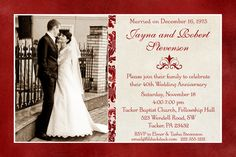 Celebrate in style with classic photo anniversary invitation, easily be adapted for any wedding year. Deep ruby red & cream and patterned accent line 50th Anniversary Cards, Wedding Anniversary Quotes, Wedding Anniversary Invitations, Parents Anniversary, Anniversary Dinner, Anniversary Photos, Anniversary Parties, Ruby Anniversary, Anniversary Photography