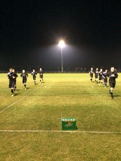 Warming up voor de wedstrijd tegen SC Heerenveen V1