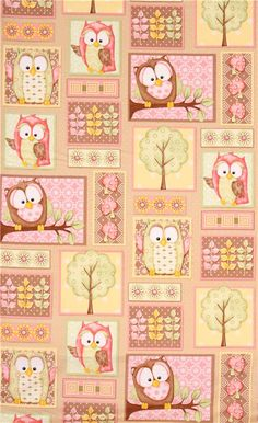 brown patchwork owl fabric You Whoo! from the USA 2