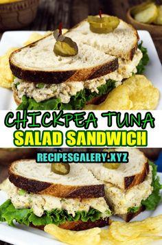 CHICKPEA TUNA SALAD SANDWICH Veggie Recipes, Seafood Recipes, Vegetarian Recipes, Healthy Recipes, Pasta Recipes, Vegan Meal Prep, Healthy Cooking, Cooking Recipes, Healthy Eating
