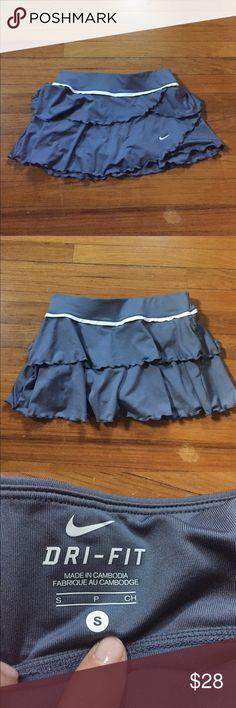 Nike Ruffle Tennis Skort | Size S Great condition! Shorts built in underneath. Slate grey/blue. Nike Shorts Skorts
