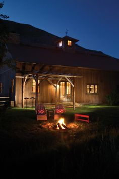 Rustic cabin with outdoor firepit | http://www.sunvalleymag.com/Sun-Valley-Magazine/Fall-2011/The-Upside-of-Upcycling/