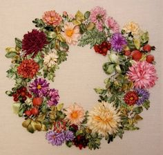 Wonderful Ribbon Embroidery Flowers by Hand Ideas. Enchanting Ribbon Embroidery Flowers by Hand Ideas. Embroidery Flowers Pattern, Hand Embroidery Stitches, Silk Ribbon Embroidery, Embroidery Art, Cross Stitch Embroidery, Embroidery Bracelets, Cross Stitches, Ribbon Art, Ribbon Crafts
