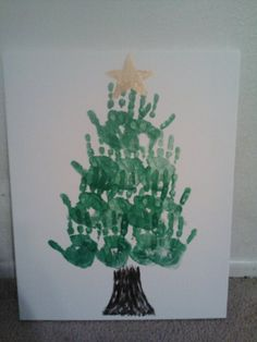 Christmas Tree with kids hands on Canvas Kids Hands, Just Do It, Kids Christmas, Kid Stuff, Crafts For Kids, December, Merry, Craft Ideas, Canvas