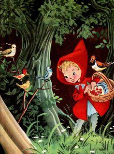 vintage book illustration of Little Red Riding Hood, via theStoryOfVintage. Vintage Children's Books, Vintage Art, Vintage Paper, Fairy Tale Crafts, Charles Perrault, Red Ridding Hood, Red Hood, Wolf, Vintage Pictures