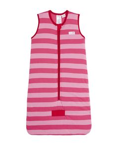 BabyKids Sleeveless Cotton Padded Sleeping Bag with Contrasting Stripes in Pink & Red #soft #cotton #newborn #baby #comfort #girl #pink #red #babykids #sleepingbag #TOGrated #twowayzip
