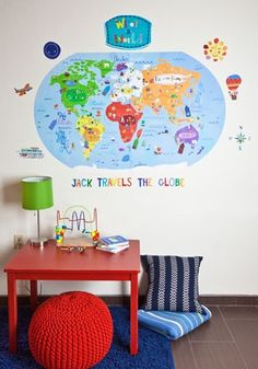 Make a mini by printing out continents glue to canvas painted light blue - have names of continents and oceans be velcro