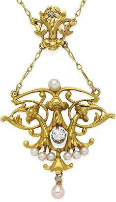 A pearl and diamond pendent necklace. Art Nouveau or Art Nouveau style.