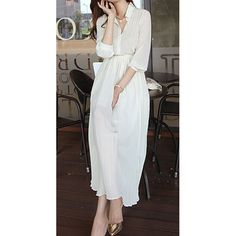 Wholesale Solid Color Bohemian Style Turn-Down Collar Single Breasted Plicated Chiffon Dress For Women
